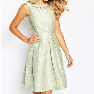 Tahari Mint Floral Jacquard Dress